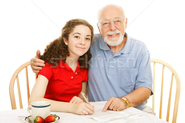 Grandfather Helping Teen Stock photo © lisafx