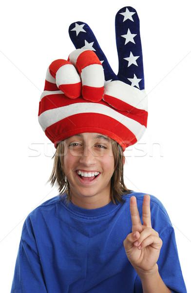 Patriotic Boy - Peace Sign Stock photo © lisafx