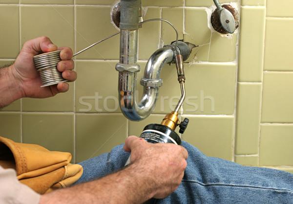 Idraulico saldatura pipe bagno costruzione Foto d'archivio © lisafx