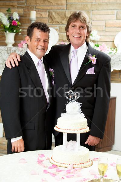 Recepção de casamento dois casamento gay bonito homem homens Foto stock © lisafx