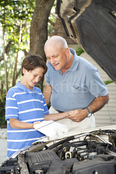 Dad Teaches Son To Check Oil Stock photo © lisafx
