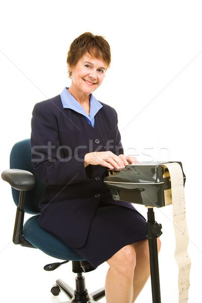 Vriendelijk rechter verslaggever mooie glimlachend machine Stockfoto © lisafx