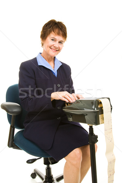 Amistoso tribunal reportero bastante sonriendo máquina Foto stock © lisafx