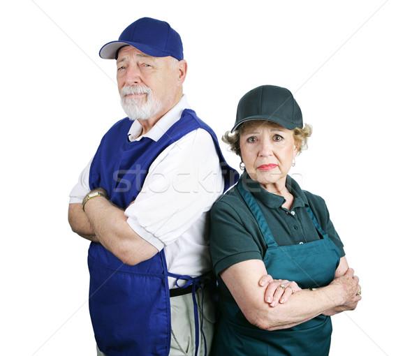 Pobre aposentadoria planejamento infeliz casal de idosos trabalhar Foto stock © lisafx