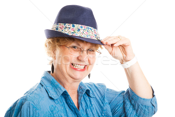 Cute Middle Aged Woman Tips Hat Stock photo © lisafx