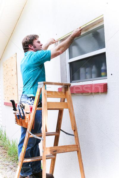 Contractor Measures Window Stock photo © lisafx