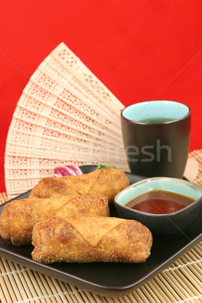 Egg Rolls & Tea - Copy space Stock photo © lisafx