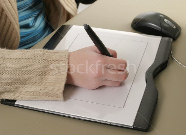 Graphics tablet een hand tekening Stockfoto © lisafx