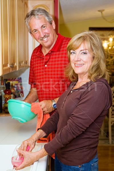 Paar mooie volwassen huishouden Stockfoto © lisafx
