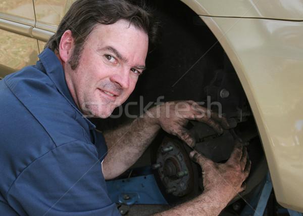 грязные тормоз работу красивый дружественный механиком Сток-фото © lisafx
