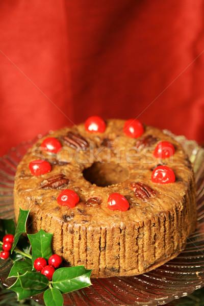 ünnep gyümölcstorta gyönyörű karácsony körítés piros Stock fotó © lisafx