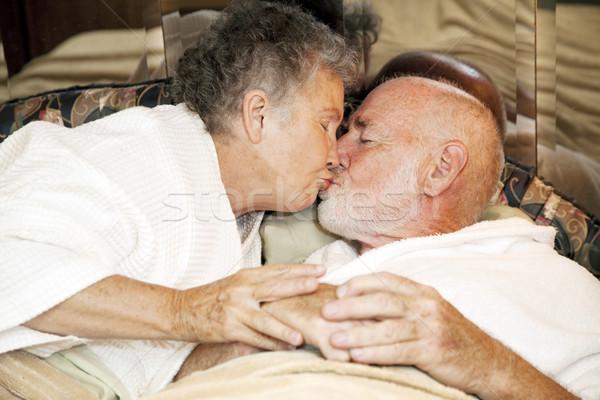 Senior Couple Goodnight Kiss Stock photo © lisafx