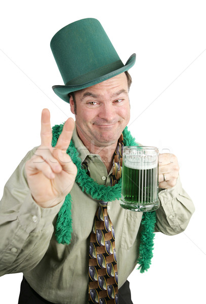 St Paddy's Day Drunk - Peace Sign Stock photo © lisafx