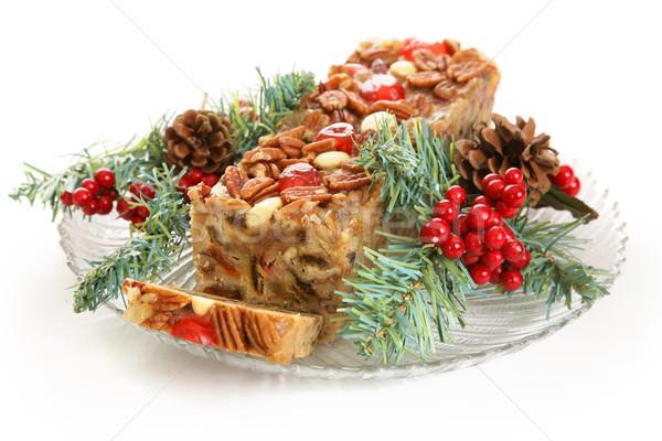 ünnep gyümölcskenyér izolált fehér karácsony gyümölcstorta Stock fotó © lisafx