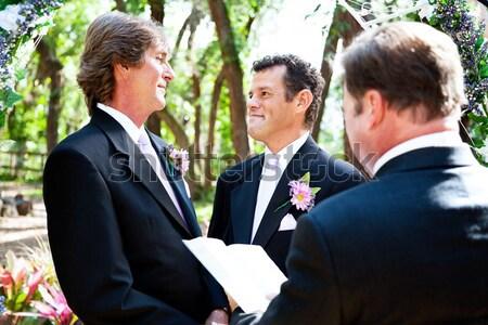 Homossexual casamento feminino ministro masculino casal Foto stock © lisafx