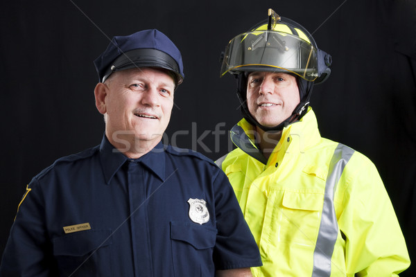 公共 幸せ 消防士 警察官 笑みを浮かべて ストックフォト © lisafx