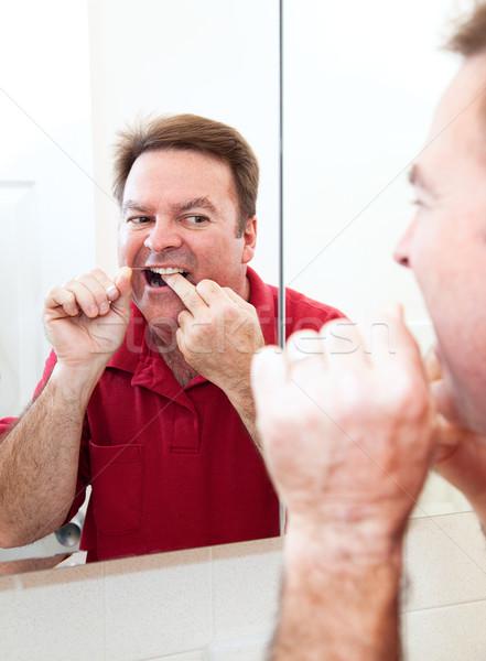 Dişler banyo ayna adam yüz gözler Stok fotoğraf © lisafx