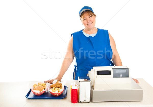 Fastfood restaurant werknemer glimlachend vriendelijk fast food voedsel Stockfoto © lisafx