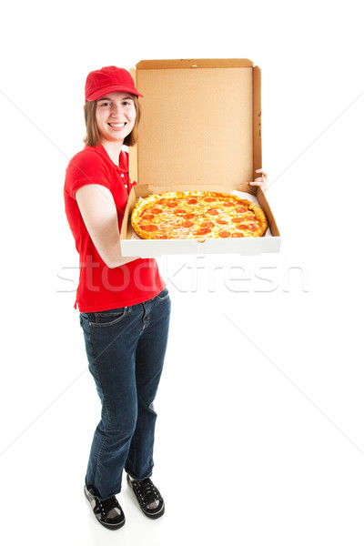 Stock photo pizza livraison fille Photo stock © lisafx