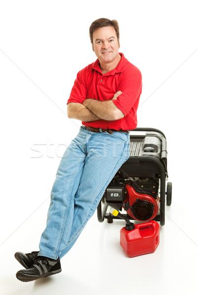 Stock fotó: Szerencsétlenség · kész · férfi · elektromos · generátor · vihar