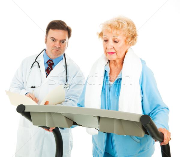 Testmozgás orvosi tanács idős hölgy futópad Stock fotó © lisafx