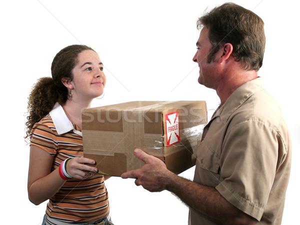 Stock fotó: Házhozszállítás · lány · csomag · posta · nő · mosoly