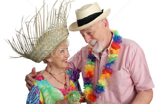 Idős pár vakációzás vonzó trópusi vakáció izolált Stock fotó © lisafx