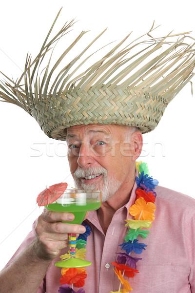 Senior Man Enjoys Margarita Stock photo © lisafx