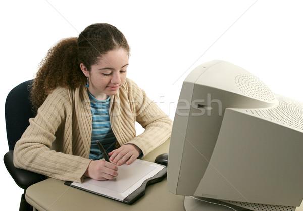 Tini grafika tabletta tinilány asztali számítógép nő Stock fotó © lisafx