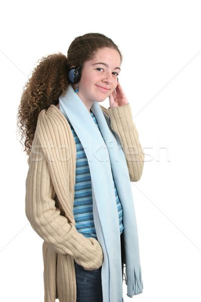 Teen genießen teen girl Musik hören Kopfhörer isoliert Stock foto © lisafx