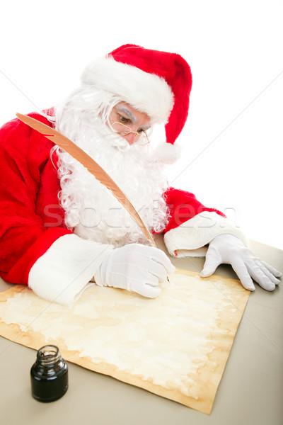 サンタクロース 書く リスト 羊皮紙 クリスマス 紙 ストックフォト © lisafx