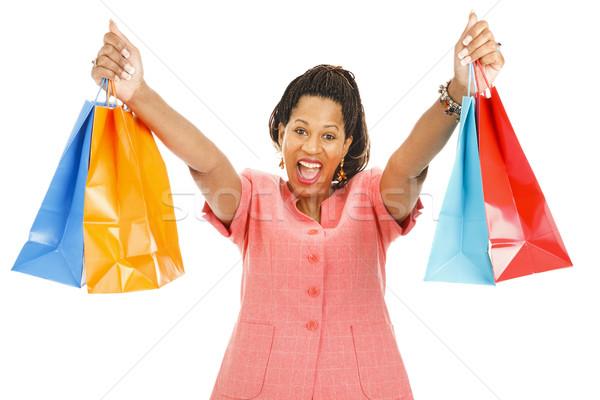 Enthousiast klant vrouw geïsoleerd Stockfoto © lisafx