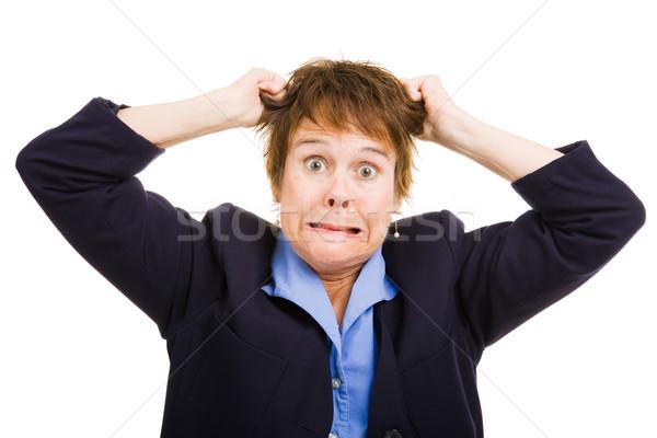 Business woman frustracja dojrzały włosy Zdjęcia stock © lisafx