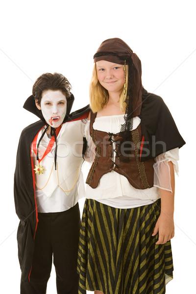 Halloween gyerekek fivér lánytestvér jelmezek izolált Stock fotó © lisafx