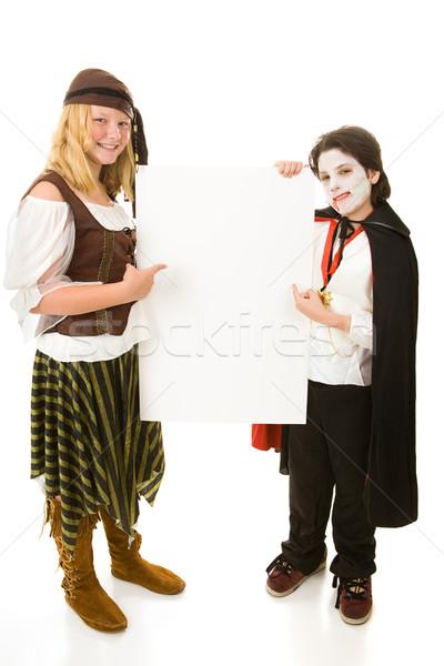 Halloween gyerekek tart felirat fivér lánytestvér Stock fotó © lisafx
