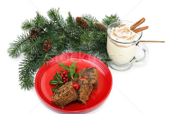 Gyümölcstorta karácsony torta tányér koktél édes Stock fotó © lisafx