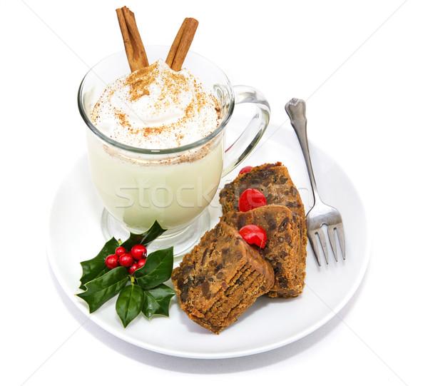 Fruitcake and Eggnog Isolated Stock photo © lisafx