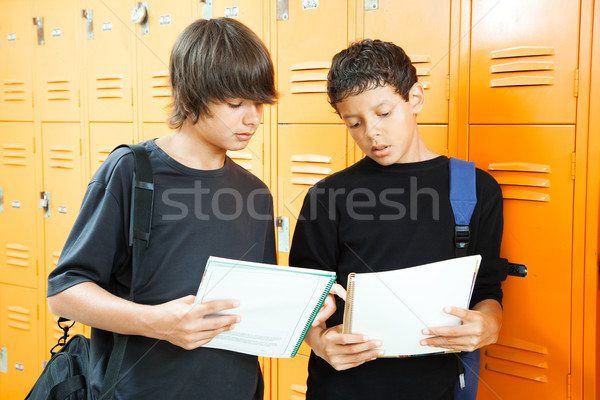 Teen Boys Comparing Homework Stock photo © lisafx