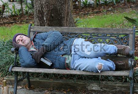 Hajléktalan férfi tini denevér bor férfiak Stock fotó © lisafx