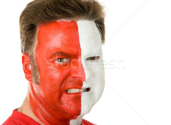Spor fan yüz boya portre Stok fotoğraf © lisafx