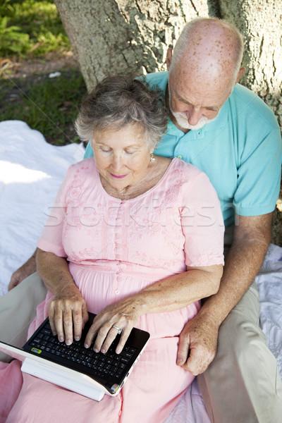 Netbook'lar küçücük kablosuz bilgisayar açık havada Stok fotoğraf © lisafx