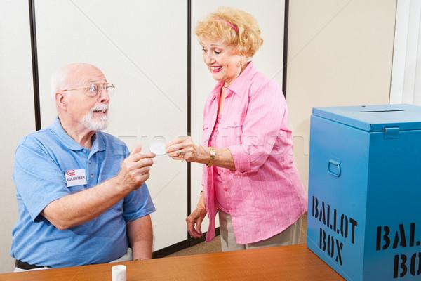 Elettore adesivo anziani femminile help Foto d'archivio © lisafx