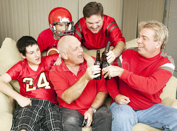 Futbol fanlar tost başarı bira Stok fotoğraf © lisafx