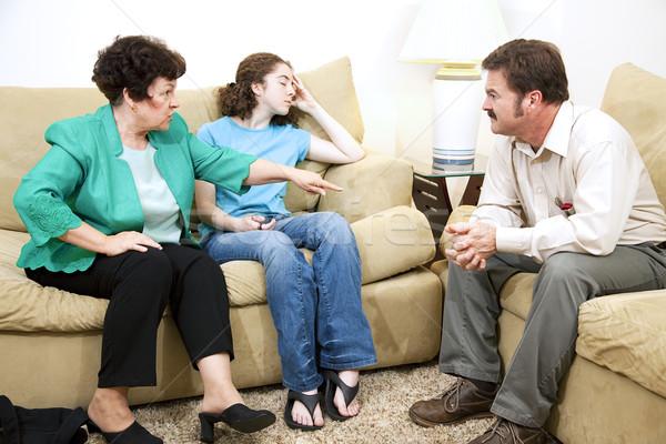 Família drama conselheiro mãe adolescente filha Foto stock © lisafx