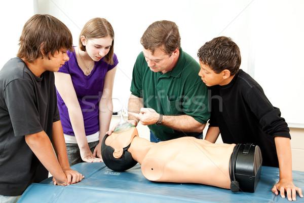 Máscara de oxigênio professor estudantes menina crianças Foto stock © lisafx