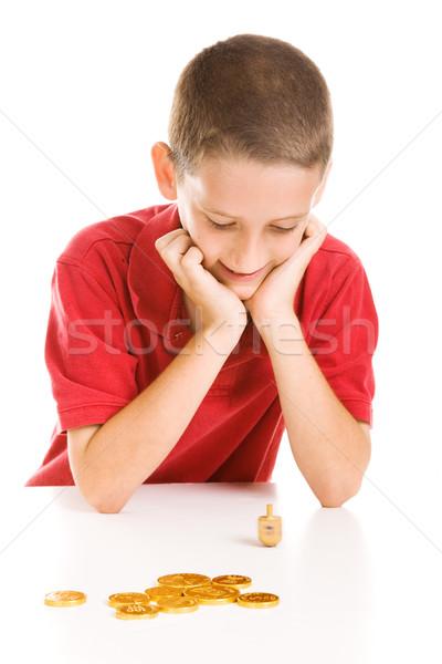 Garçon jouer adorable célébration isolé blanche Photo stock © lisafx
