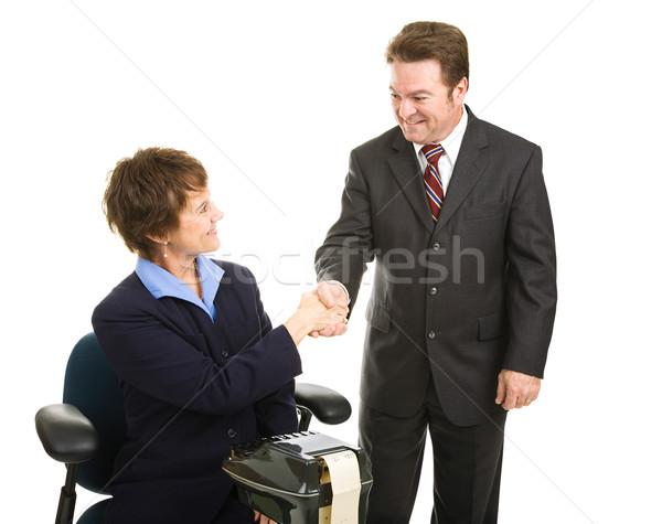 суд репортер адвокат рукопожатие приветствие рукопожатием Сток-фото © lisafx