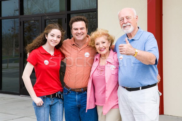 Election - Family Outside Polls Stock photo © lisafx