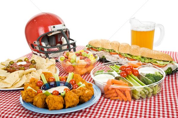 Super bowl food stroną tabeli zestaw strony biały Zdjęcia stock © lisafx