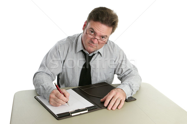 Procureur auditeur prendre des notes pas heureux quoi Photo stock © lisafx